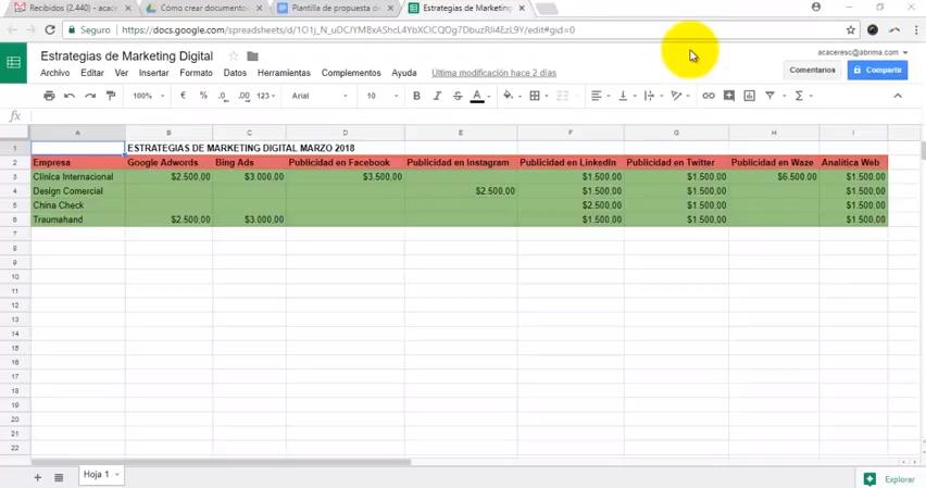 Cómo crear Documentos de Google desde una Hoja de Cálculo de Google ...